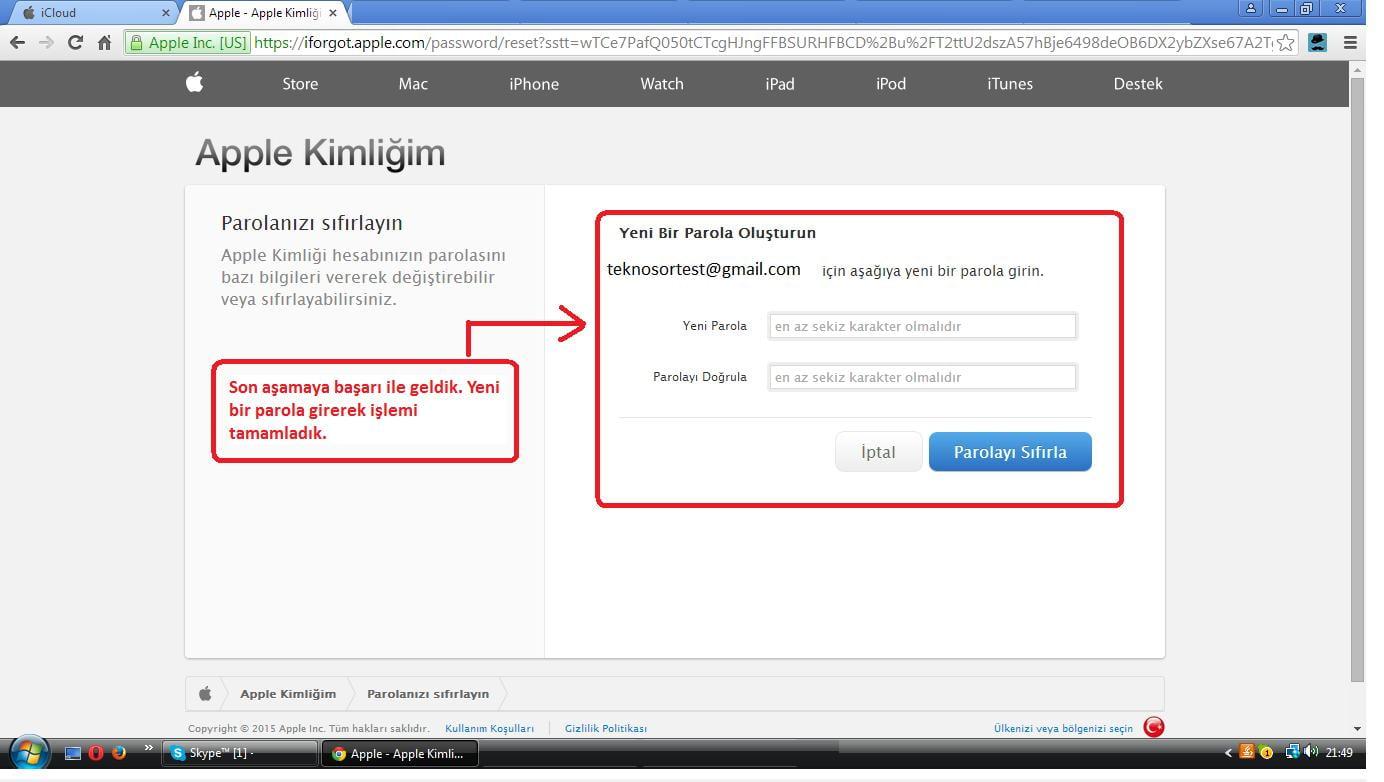 Apple kimliği hesabı oluşturma