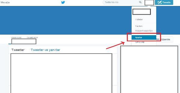 twitter kullanıcı hesabı ayarları 1