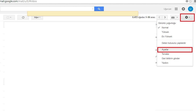 Gmail ayarlar menüsü