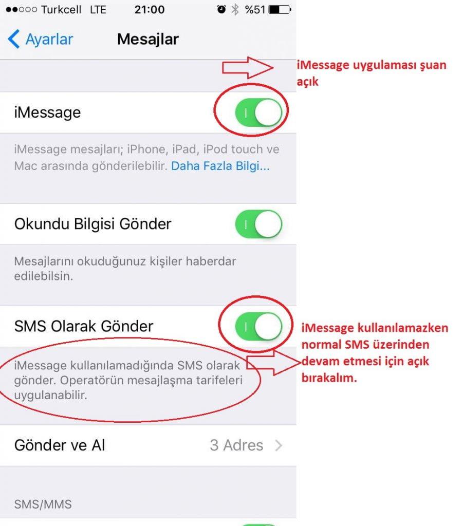 010 imessage açık SMS açık