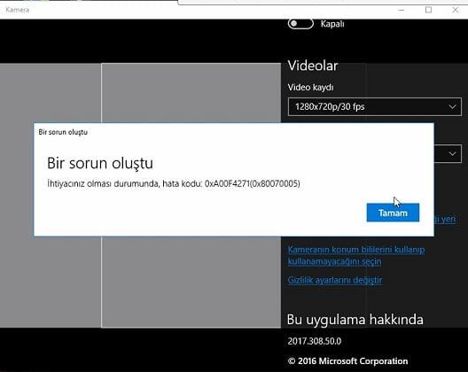 """Windows 10'da """"Kamerada Bir Sorun Oluştu. Hata kodu: 0xA00F4271"""" Sorunu ve Çözümü"""