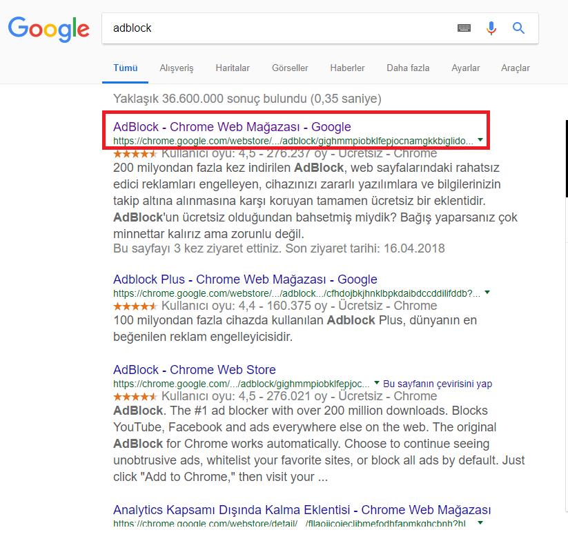 Google Chrome'da YouTube Reklamlarını Engelleme (Resimli Anlatım)