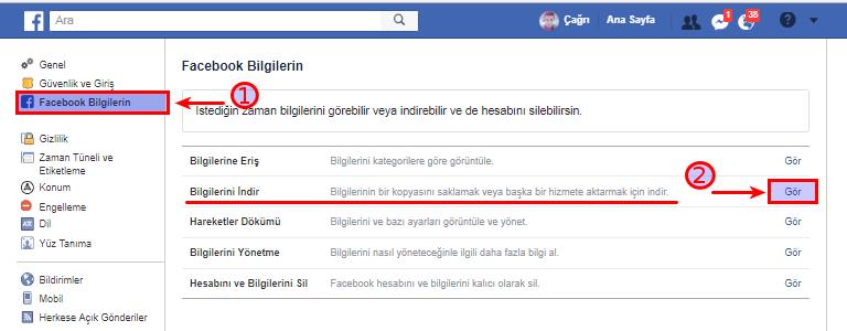 Facebook Bilgilerini İndirme! (Resimli Anlatım)